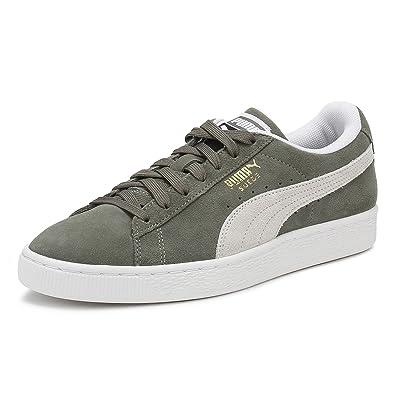 | PUMA Mens Castor Grey Suede Classic Sneakers UK