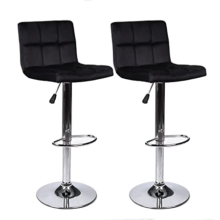 Elecwish Bar Stools Set of 2 White PU Leather Seat with Chrome Base Swivel Dining Chair Barstools Black Flannel