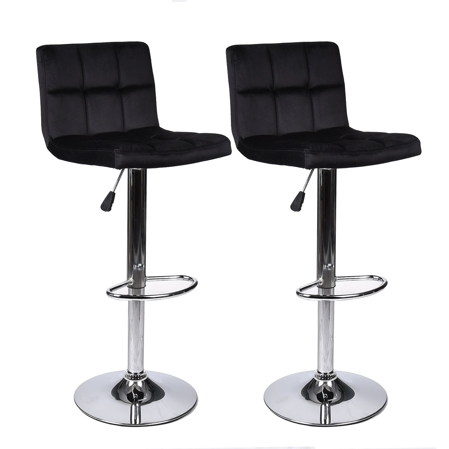 PULUOMIS Modern Square Flannel Adjustable Bar Stools With Back,Set of 2,Counter Height Swivel Stool Black