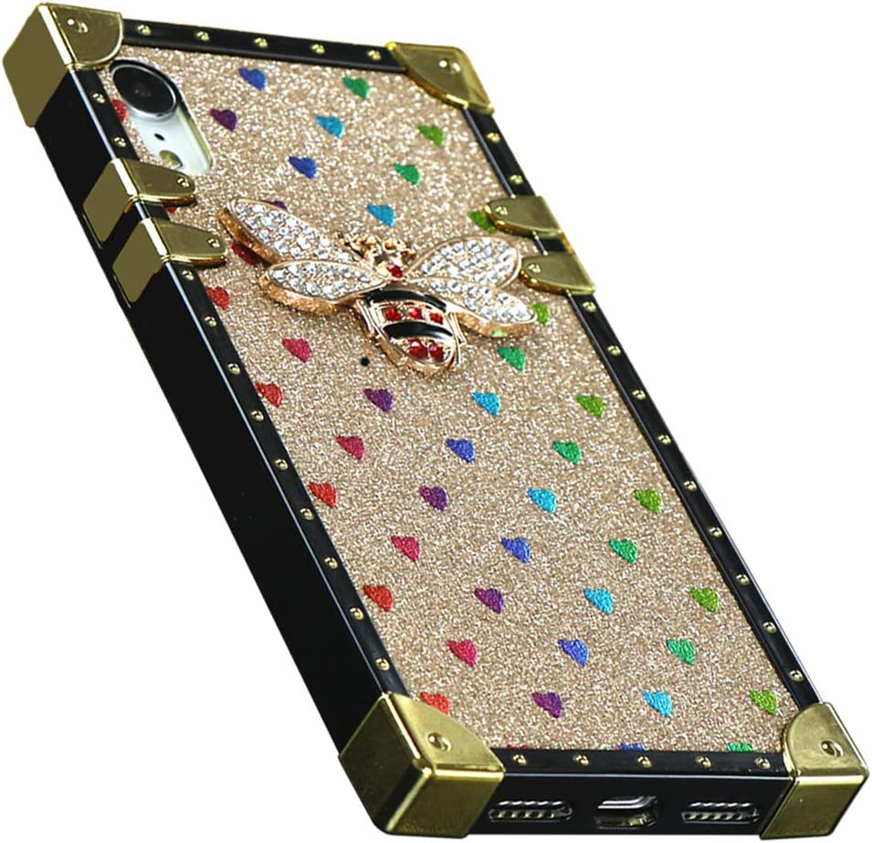 Muntonski iPhoneXR Case Glitter Compatible with iPhone XR Square Protective Cover Bling Cute Luxury Bee 10xr 10r Cases Classic Retro for i Phone X R 6.1 inch (Gold)