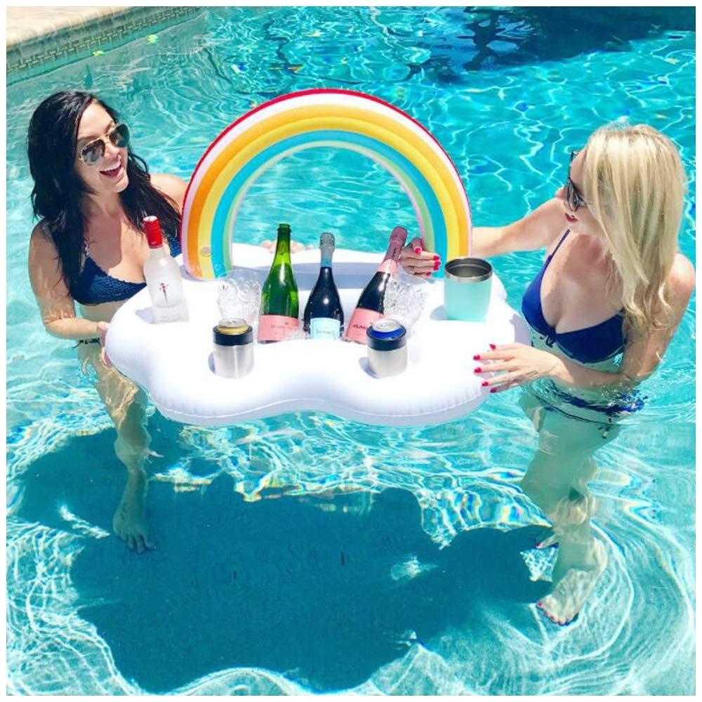 Barra de agua inflable, Rainbow Cloud Bebidas Refrigerador para piscina Barra flotante Cerveza Soporte para bebidas Flotador Lata puede embotellar tazas para fiestas Uso en interiores y exteriores: Amazon.es: Deportes y aire