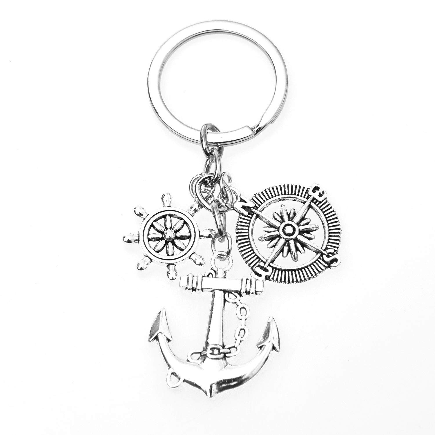 Key Chain Ring with Compass Ship Steering Wheel Anchor Charms for Family and Friends Monrocco Anchor Rudder Compass Keychain