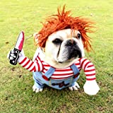 HONGMEIH Halloween Dog Costume Costume for Dogs Funny Cosplay Chucky Doll Dog Costume with Hat Party Clothes Christmas Costum