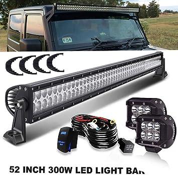 """4/"""" Pods ATV UTV SUV 52 54-Inch 312W LED Bar Light For   Truck Off-Road"""
