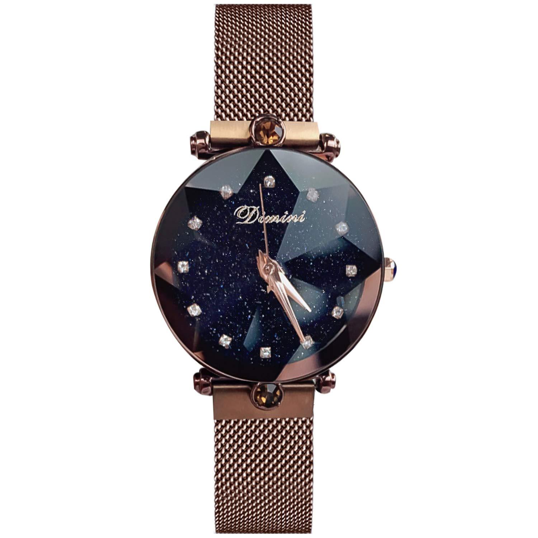 RORIOS Fashion Mujer/Women Relojes de Pulsera Cielo Estrellado Magnética Mesh Band Diamante Simulado Dial Relojes de Mujer: Amazon.es: Relojes
