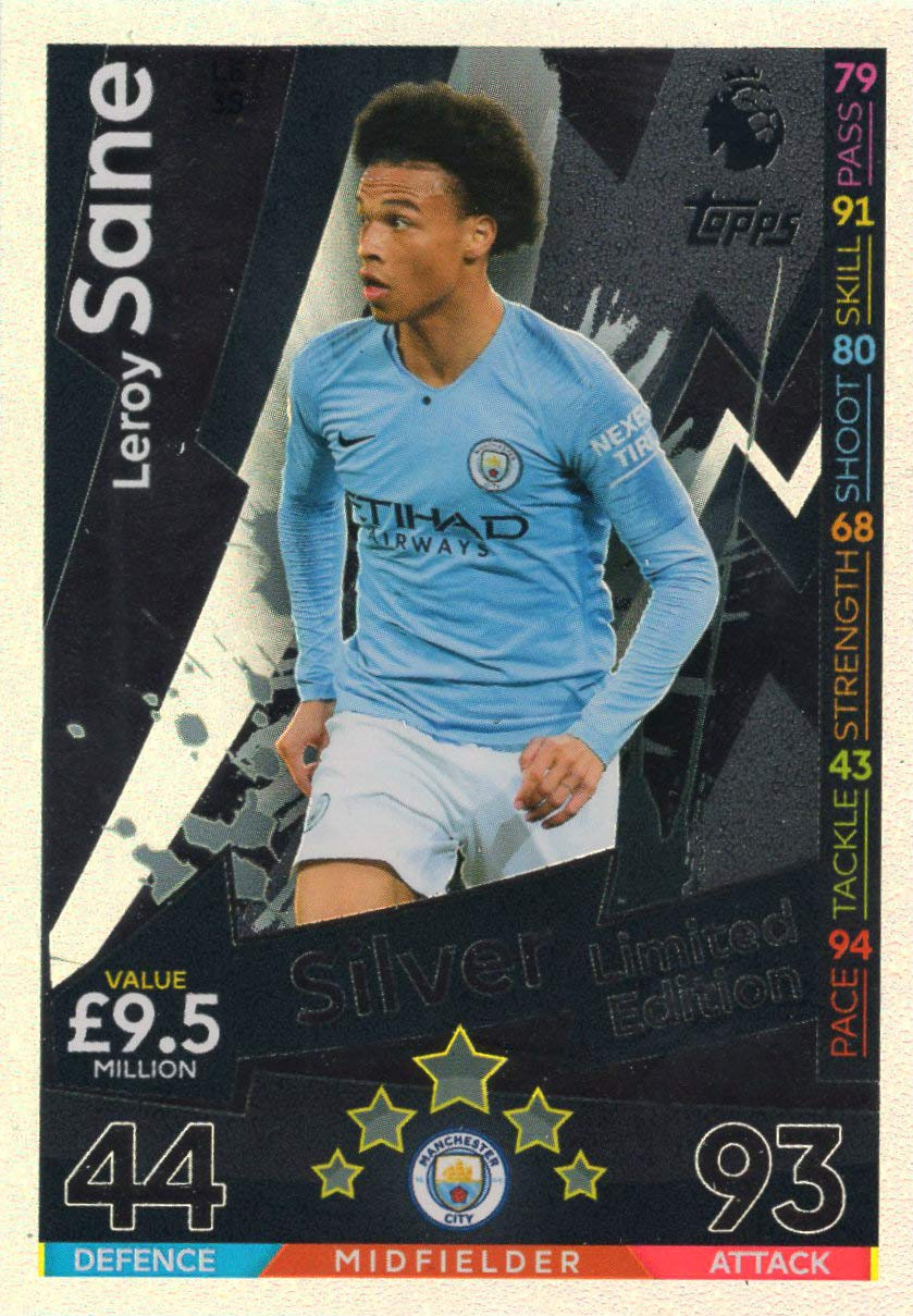 MATCH ATTAX 2018/19 LEROY SANE SILVER LIMITED EDITION CARD ...