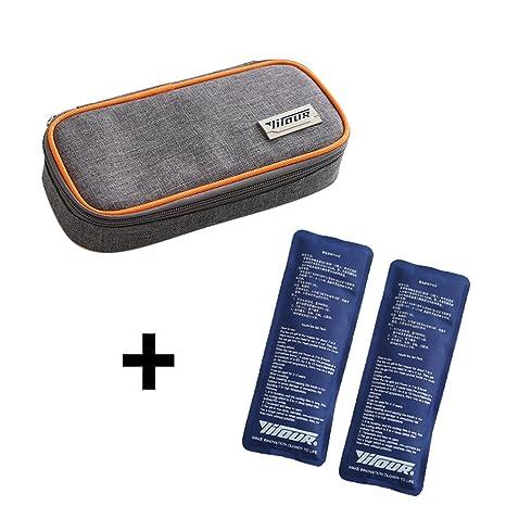 Enfriador de insulina Bolsa, Cuitan Bolsa Diabética para Diabéticos Plumas de Insulina y Medicamentos + 2 Bolsas de hielo - Naranja