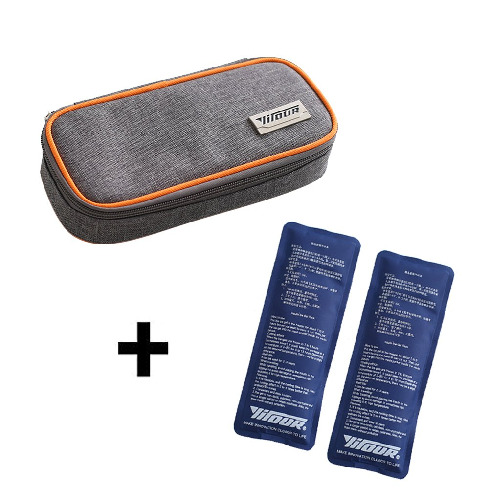 Insulin Cooler Bag, Cuitan Travel Cooling Case for Diabetic Organizer Medication Cool Pack with 2 Ice Packs (Orange)