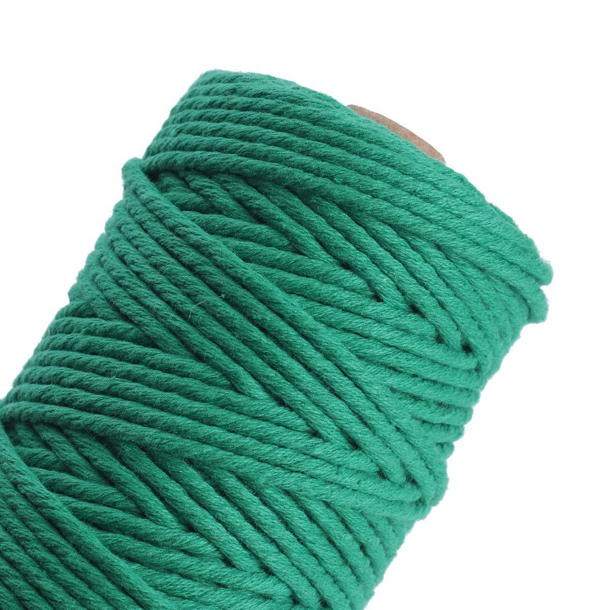 Topwa confezione da 5 macram/è Cord Natual corda di cotone fai da te artigianale cavo bobina spago rustico in per parete appendere piante artigianato lavoro a maglia decorativo progetti 3 mm X100 M