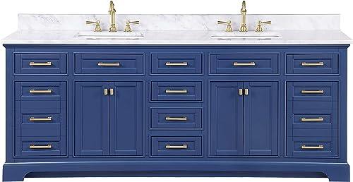 Design Element ML-84-BLU Milano 84″ Blue Bathroom Vanity