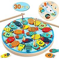 لعبة صيد اسماك خشبية مغناطيسية من ايه ام انا- لعبة اسماك لوحية مرسوم عليها الحروف الابجدية