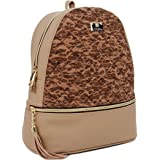 Copi Women's Simple Design Cork Leather Fashion Quilting Backpacks Beige Brown