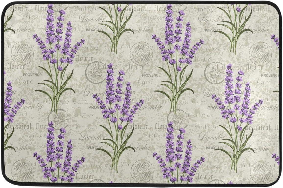 Pfrewn Retro Lavender Stamp Door Mats Grungy Floral Flowers Floor Mat Indoor Outdoor Entrance Bathroom Doormat Non Slip Washable Welcome Mats Home Decor 23.6 x 15.7 inch