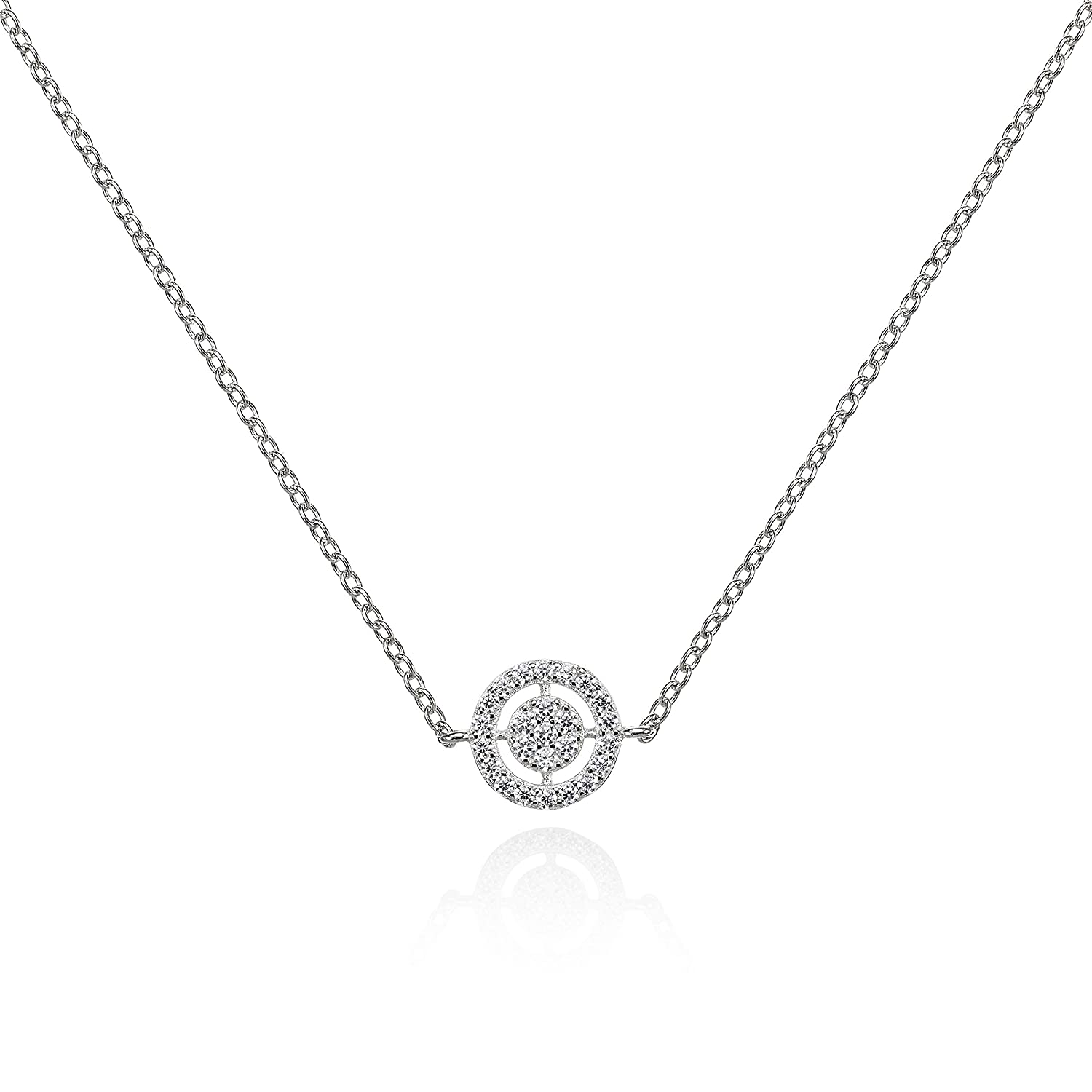 Namana Sterling Silver Target Pendant Necklace Fine Silver Necklace For Women Set With Aaa Cubic Zirconia Stones Dainty Pendant Necklace With A Gift
