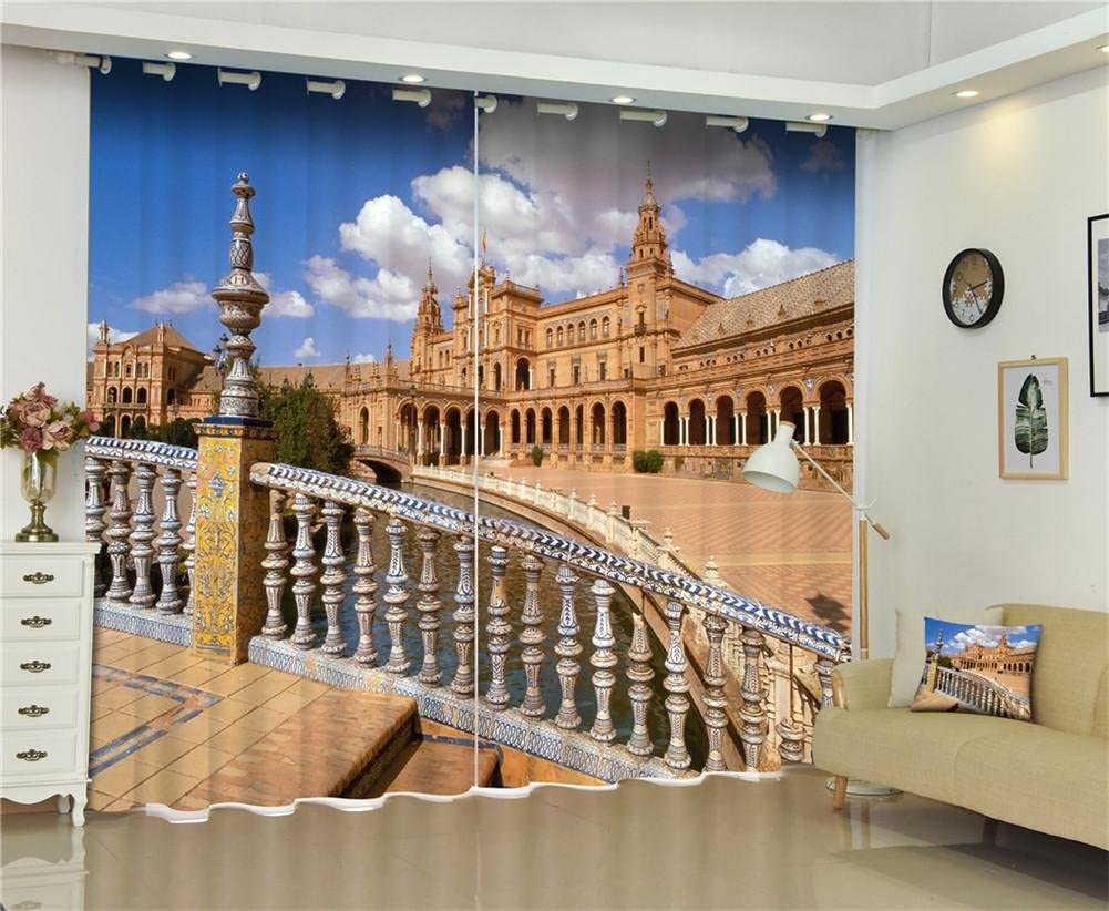 LIYA 2 paneles de habitación oscurecimiento cortinas oscuras, arquitectura española cielo azul y nubes blancas paisaje cortinas de ventana 3D para sala de estar interior oficina del dormitorio , 142*98 inch: Amazon.es: Hogar