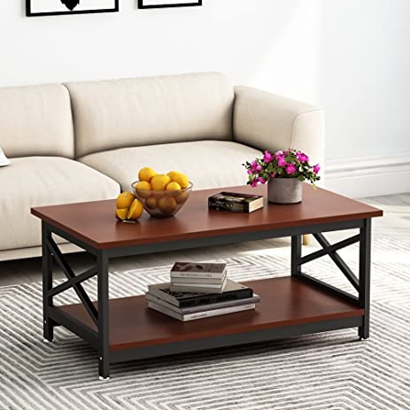 Tribesigns Modern Coffee Table With Lower Storage Shelf, 2 Tier Cocktail  Table For Living