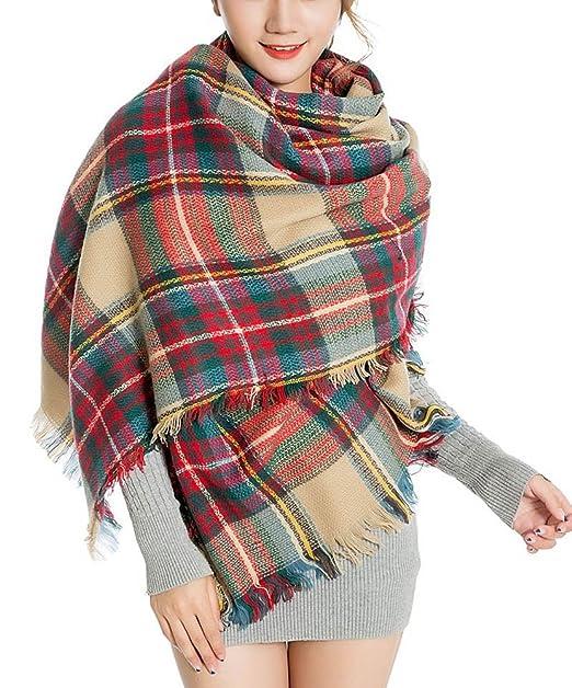 bdfdcd687e1f94 Tuopuda® Elegante Inverno Caldo Grande Coperta a Scacchi Plaid Sciarpa Wrap  Scialle (verde)