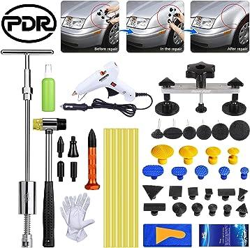 UK/_ NE/_ T-Bar Puller with 18 Dent Glue Tabs Car Paintless Dent Hail Removal Kit