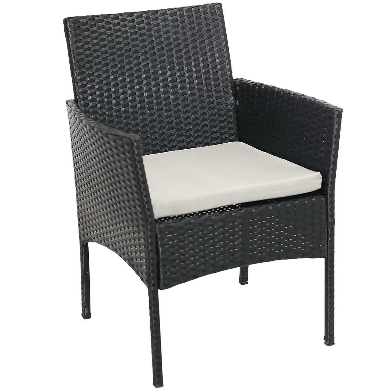 Beneffito Conjunto Muebles de jardín Tulum en Resina Trenzada Negro - 4 plazas, 2 sillones, 1 Mesa Baja, 1 Banco - con Cojines de Asiento Beige con ...