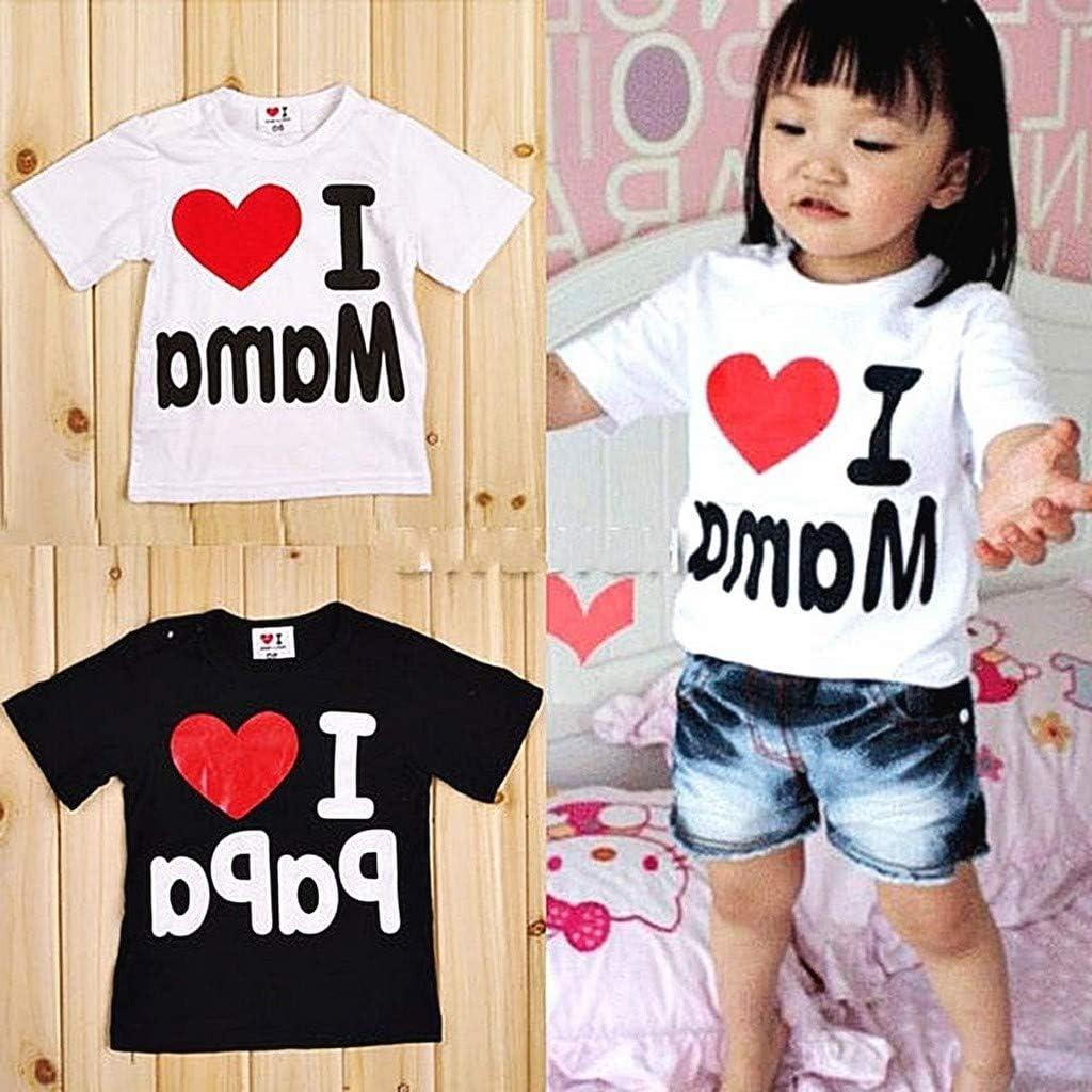 EVRYLON T-Shirt /« I Love Mama /» pour b/éb/é Fille avec Inscription /« I Love Mama /» Blanc