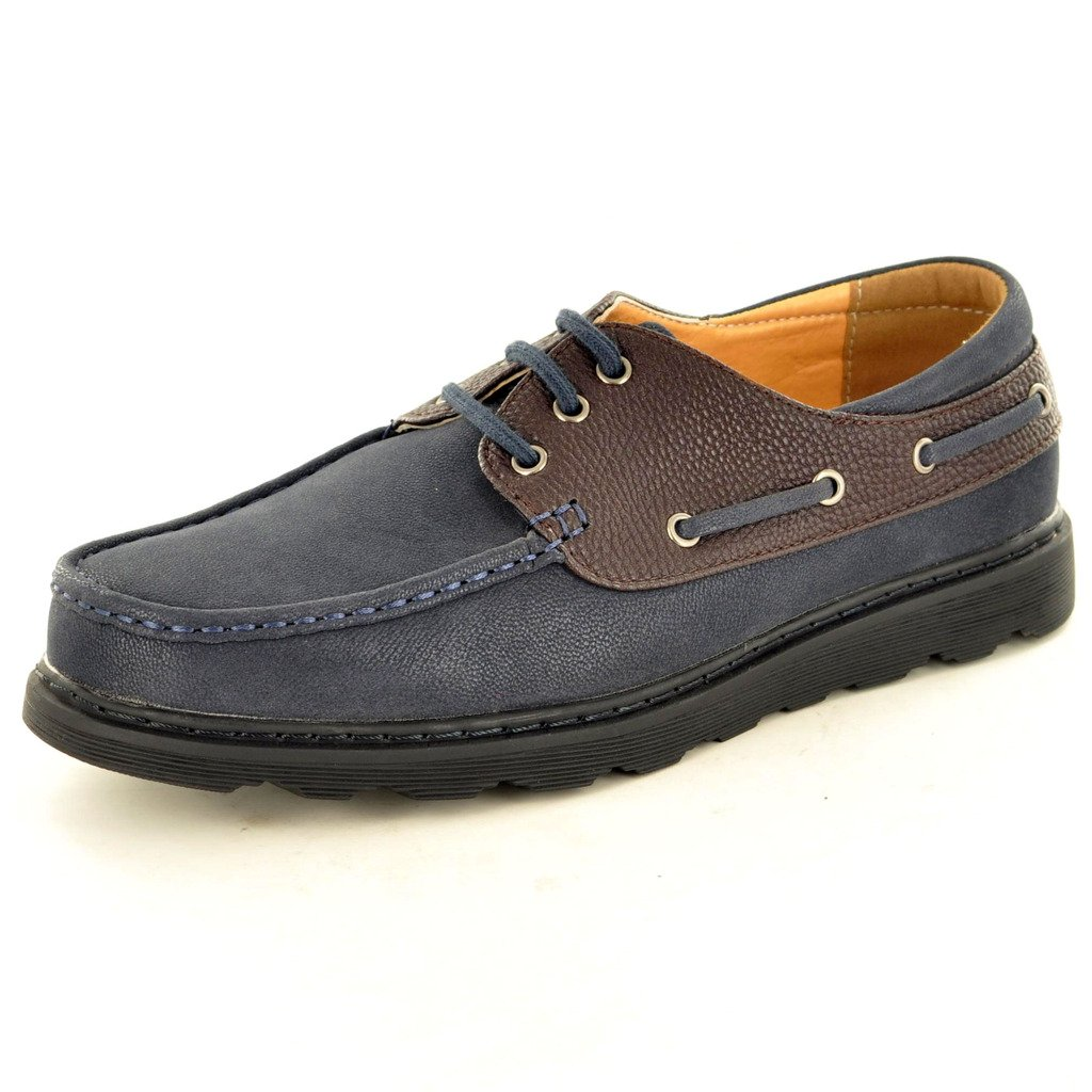 New Men s Deck Boot Spitzen bis Casual Schuhe  41 EU|Navy / Coffee
