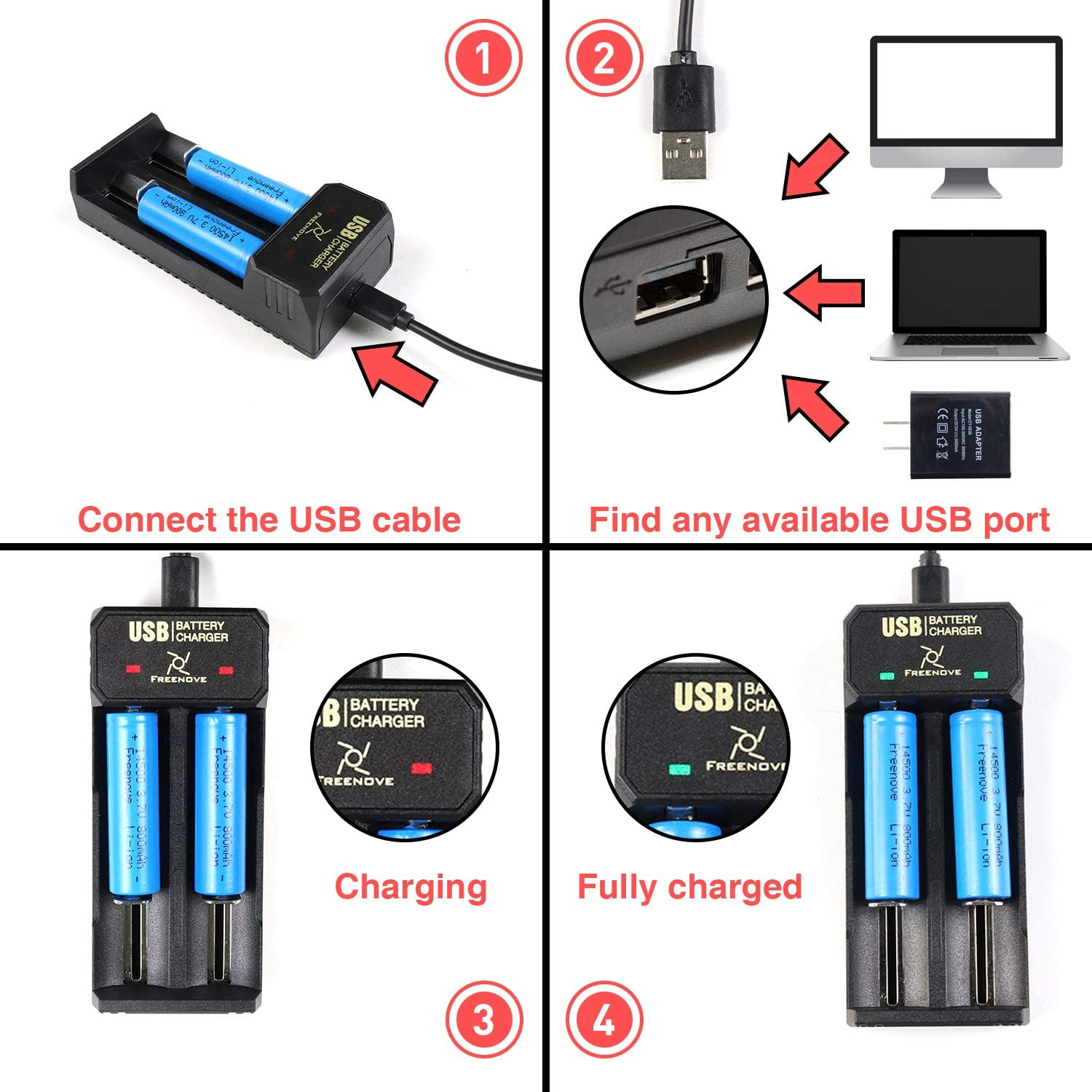 Freenove 18650 Rechargeable Battery 3.7V, 3400mAh, Li-ion, Pointed Head, No Protective Board, 2PCS USB Powered and Charger