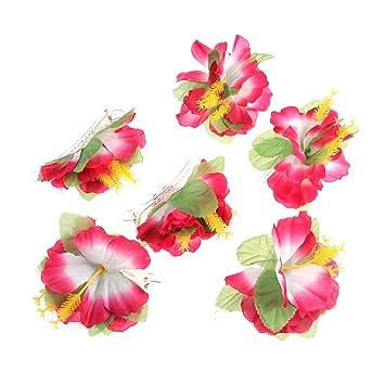 9cf3450efc603 BESTOYARD Hibiscus Flower Hair Clips Hawaiian Tropical Beach Wedding Party Hair  Accessories 6PCS (Pink)