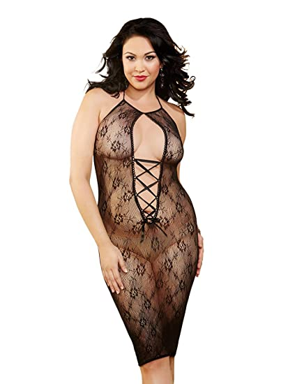 7216485b5 Amazon.com  Dreamgirl Women s Plus Size Sexy Seamless Black Lace Knee Length  Halter Dress