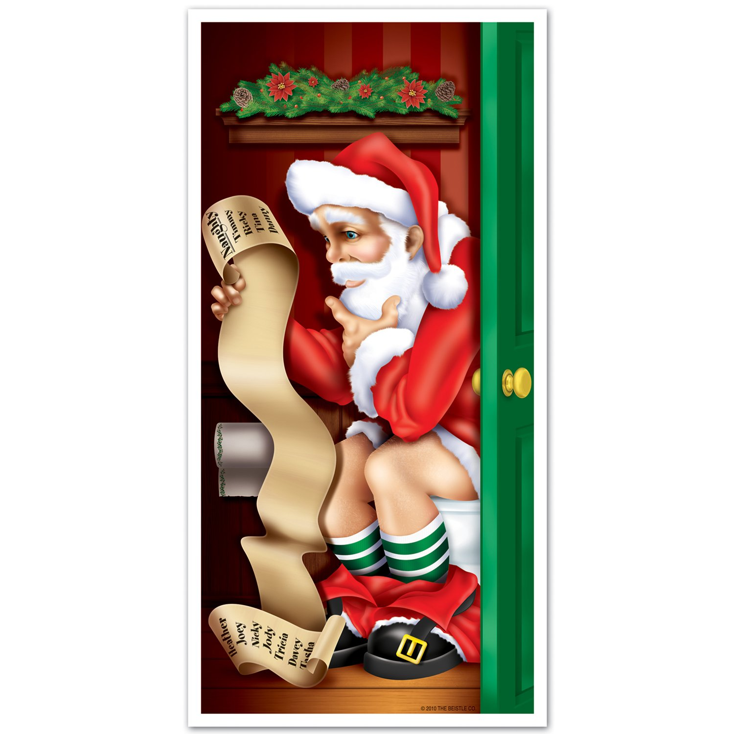 Santa bathroom door cover decor