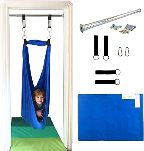 DreamGYM Doorway Sensory Swing – 95 Cotton – Support Bar Included – Therapy Swing for Kids and Adults – Blue