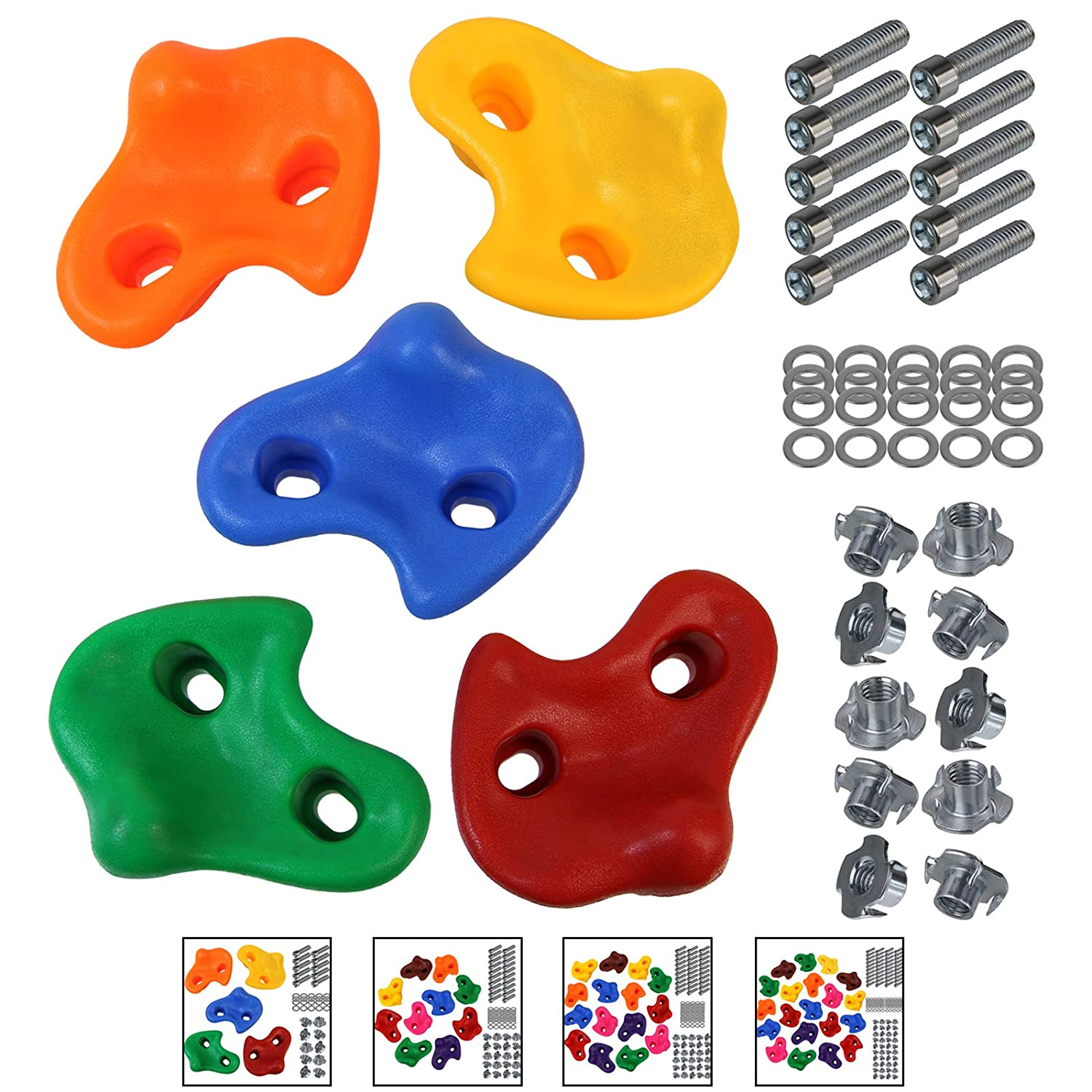 15 or 20 Childrens climbing holds climbing rocks for climbing wall varied includes mounting material ALPIDEX 5 10 Packing Unit:30 pieces Colour:Mixed Colours