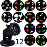 Christmas Decoration Outdoor Projector Light,Holiday Christmas Outdoor Garden Light,Rotating Project Lamp,LED Landscape Moving Lights with 12 pcs Switchable Slides for Outdoor & Indoor