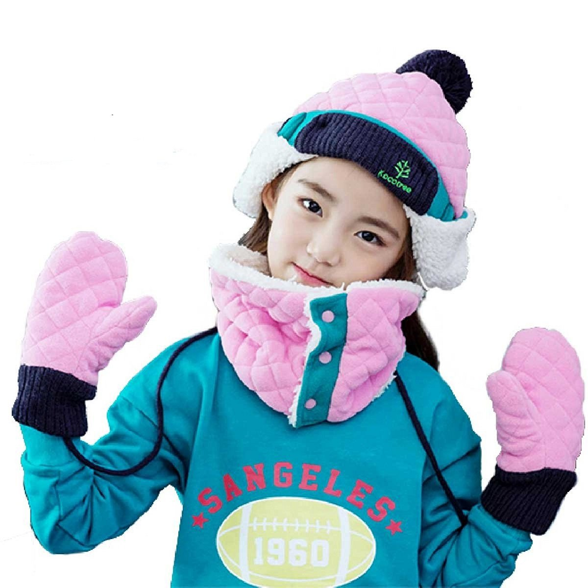 Triwonder Little Boys Girls Toddlers Winter Warm Fleece Flap Hat Scarf Mittens Set (Pink, L (6-12 years old))