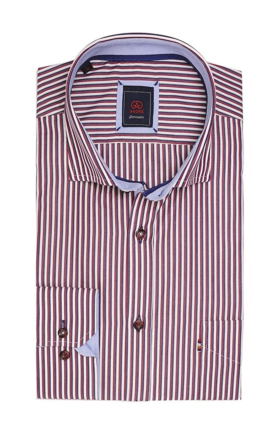 Donald 100% Luxury Cotton Smart Casual Shirt in burgundy and beautifully designed by Andr茅 Menswear