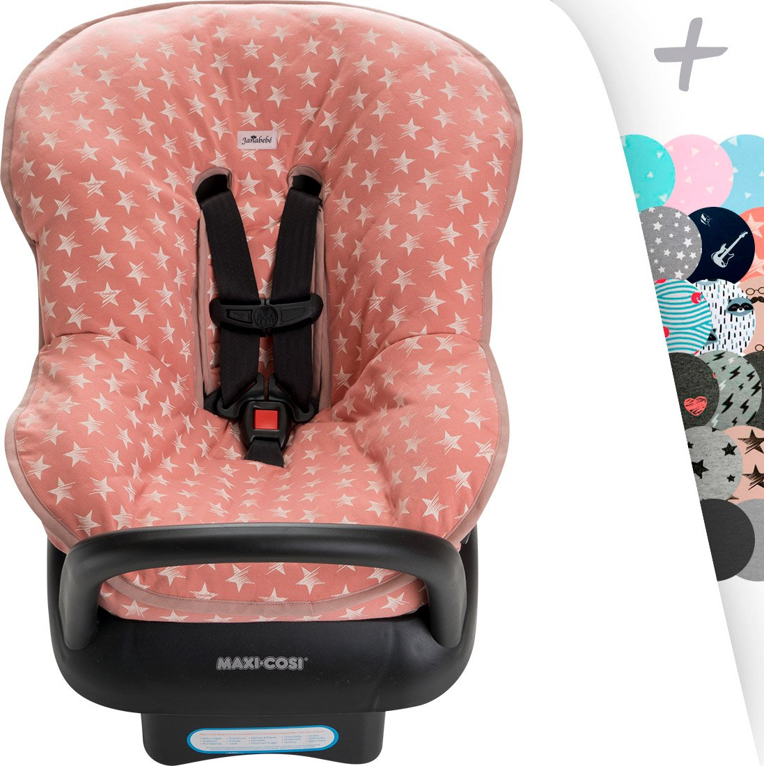 Universal Padded Cover Liner for Baby Carriers and CAR SEAT (Maxi COSI MICO, CHICCO, BRITAX, ETC) by Janabebe (Pink Star) UN/FU01/054/250