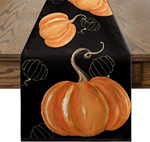 Artoid Mode Watercolor Orange Pumpkins Hollow Squashes Table Runner Black, Seasonal Fall Harvest Vintage Kitchen Dining Table Decoration for Indoor Outdoor Home Party Decor 13 x 72 Inch