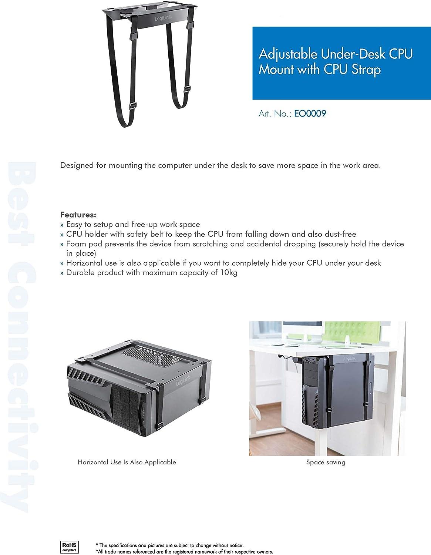 LogiLink EO0009 Einstellbare Untertisch PC Halterung mit Gurt