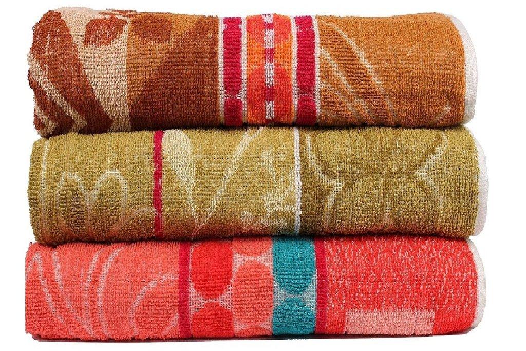 Casa Copenhagen - Colourful Jacquard Designs 400 GSM (11.80oz/yd²) Cotton 27 x 54 inch 3 pack Bath Towels - Multicolor