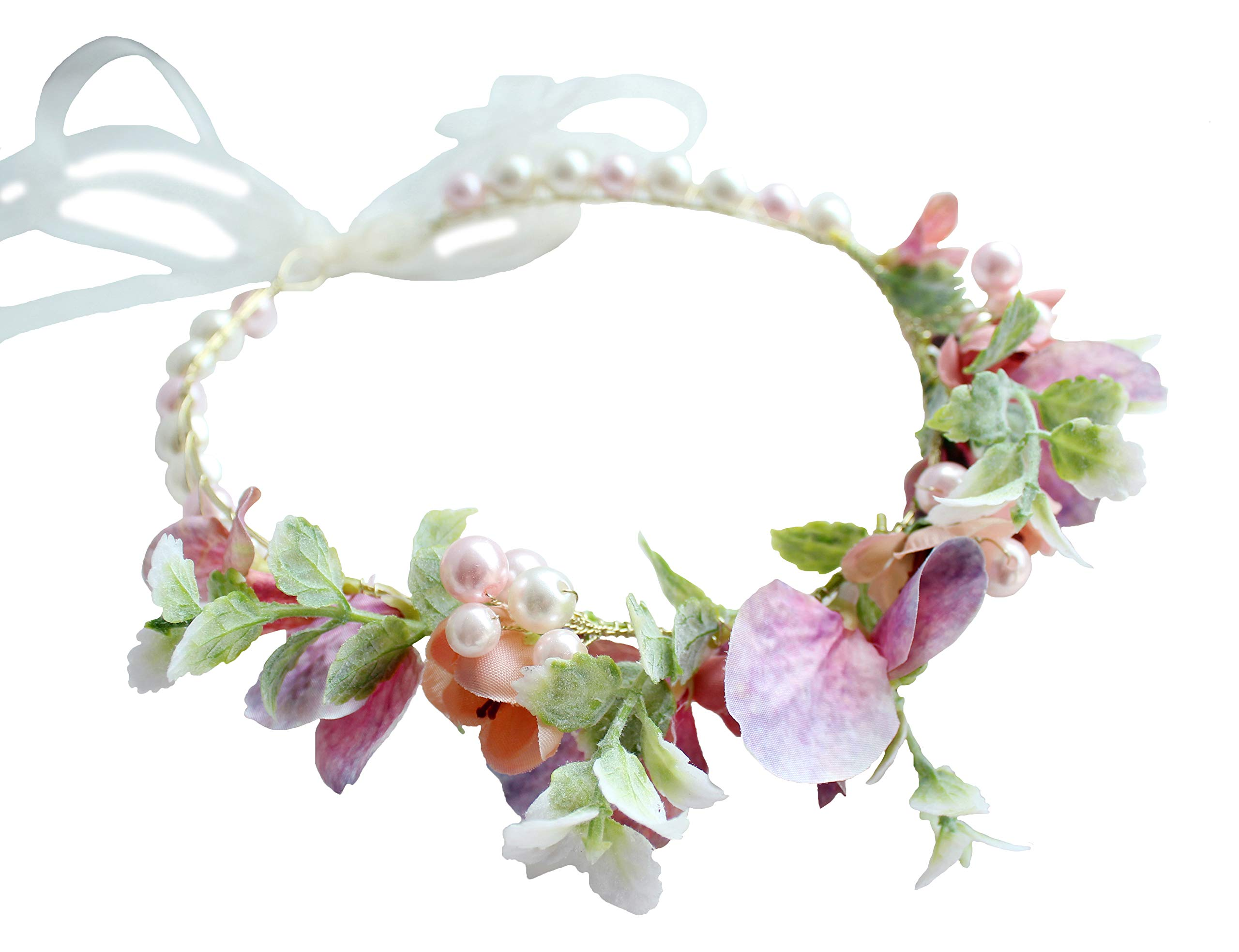 Vivivalue Pearl Flower Crown Floral Garland Headband Flower Halo Headpiece Hair Wreath Boho with Ribbon Wedding Party Photos Festival Pink