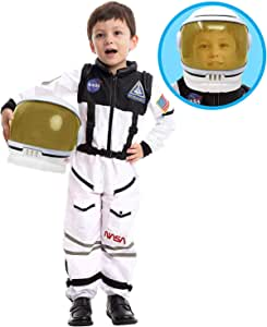 Astronaut NASA Pilot Costume with Movable Visor Helmet for Kids, Boys, Girls, Toddlers Space Pretend Role Play Dress Up, School Classroom Stage Performance, Halloween Party Favor (3T)