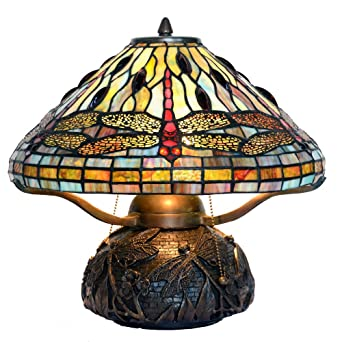 Bieye L10190 16 Inches Dragonfly Tiffany Style Table Lamp With 100