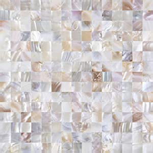 KASARO Wall Decor Peel and Stick Mosaic Shell Backsplash Tile for Bedroom and Bathroom Mother of Pearl (10, Nature)