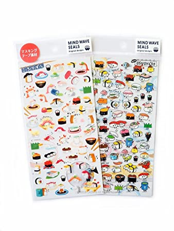 Mind wave japanese clear washi mini sticker sheets sushi pack of 2