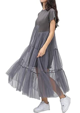 shoes for cheap double coupon purchase original Summer Korean Splicing Pleated Tulle T shirt Dress Women Big ...
