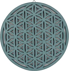 DharmaObjects Large Flower of Life Sacred Geometry Positive Energy Handcrafted Wooden Wall Decor Hanging Art (Turquoise, 15.75 Inches)