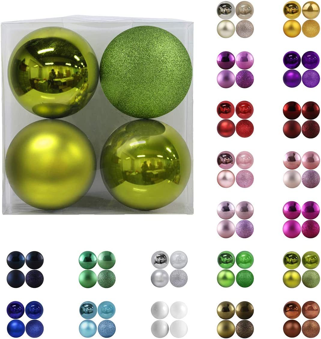 "Christmas Balls Ornaments for Xmas Tree - Shatterproof Christmas Tree Decorations Large Hanging Ball Lemon Green 4.0"" x 4 Pack"
