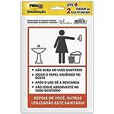 Placa Adesiva para Sinalização Pimaco BIC, Procedimento Sanitário Feminino e Masculino, 14x19cm, 891748, 2 unidades