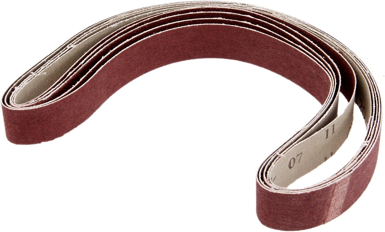 5Pcs Red 240# Grit Aluminium Oxide 760x25mm Abrasion Resistant Abrasive Sanding Belt