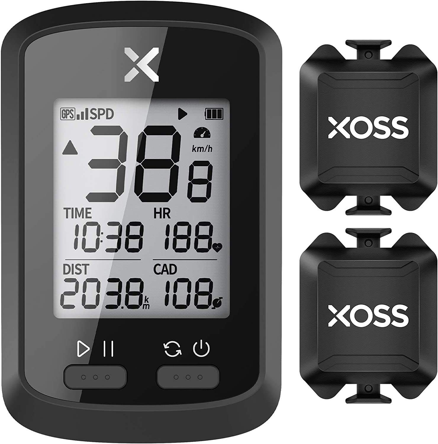 XOSS G+ GPS Bike Computer ANT+ with 2 Smart Cadence Sensor, Bluetooth Cycling Computer, Wireless Bicycle Speedometer Odometer, Waterproof MTB Tracker Fits All Bikes (Support Heart Rate Monitor) : Sports & Outdoors