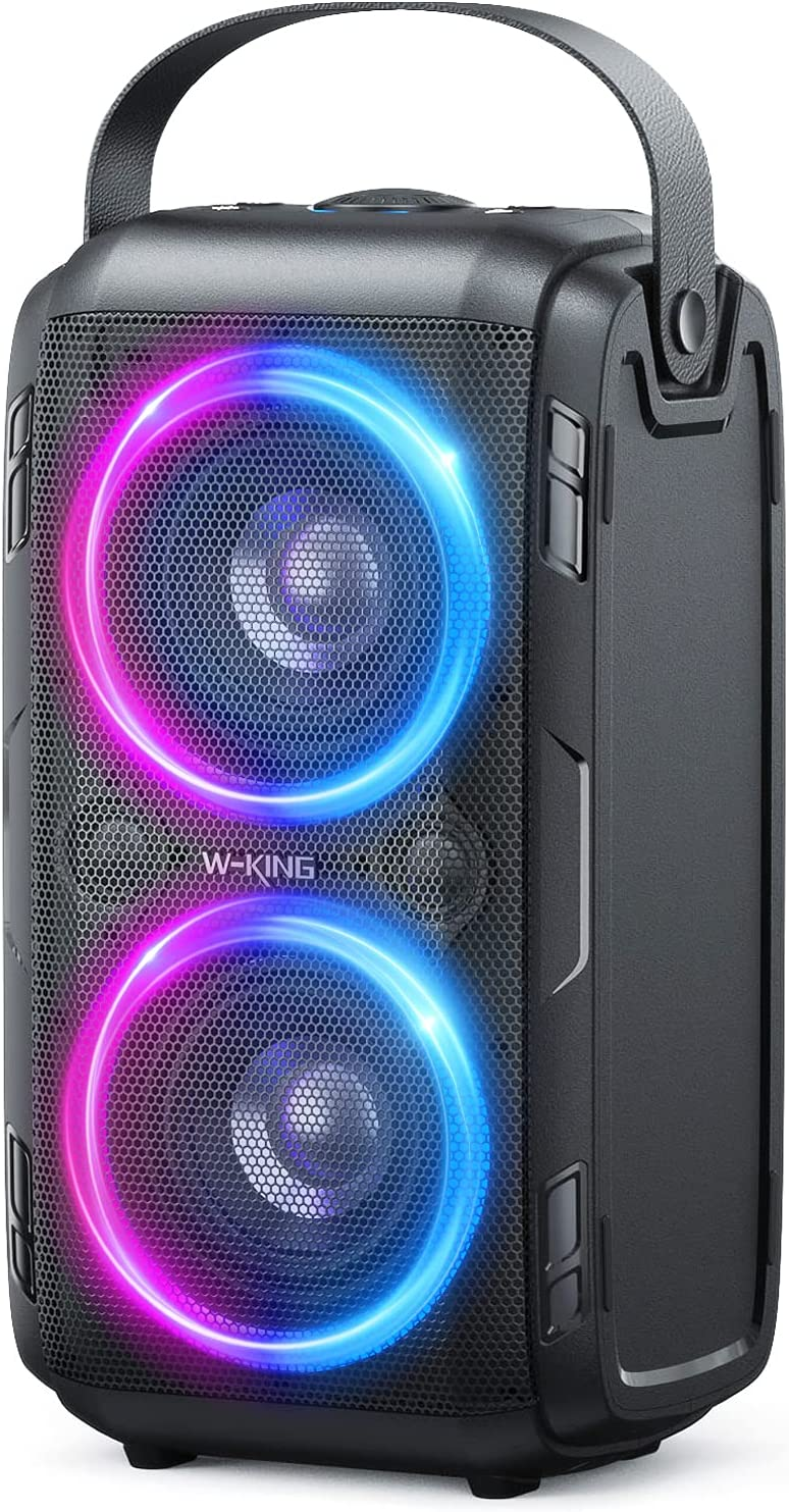 80W(100W Peak) Bluetooth Speaker, W-KING Huge 105dB Sound Portable Wireless TWS Speakers with BassUp Technology, Mixed Color LED Lights, TF Card, USB Playback, Big for Home, Party, Non-Waterproof